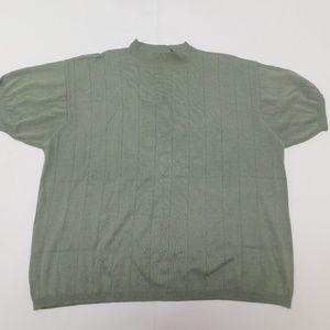 Dressbarn 2X Green Knit Top High Neck Acrylic Blen